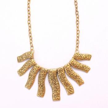Gold rectangle collar statement necklace, golden bib necklace, chunky necklace