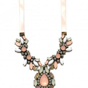 Pink statement necklace, yellow statement necklace